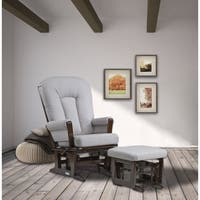 Dutailier Pebble Grey Multiposition Reclining Sleigh Glider and ottoman set