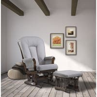 Dutailier Pebble Grey Sleigh Glider and Ottoman Combo