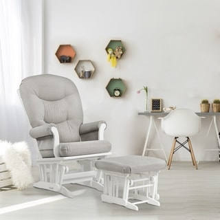 Dutailier Light Grey Sleigh Glider and Ottoman Combo