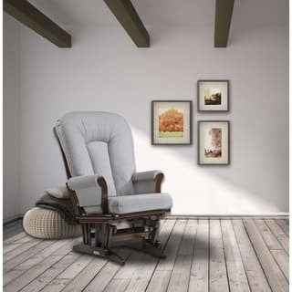 Dutailier Sleigh Glider in Pebble Grey and Coffee Finish