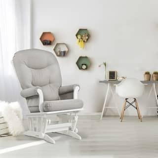 Dutailier Sleigh Glider in Light Grey and White Frame