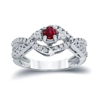 Auriya 14k Gold 1/5ct Ruby and 1/3ct TDW Diamond Engagement Ring (H-I I1-I2)