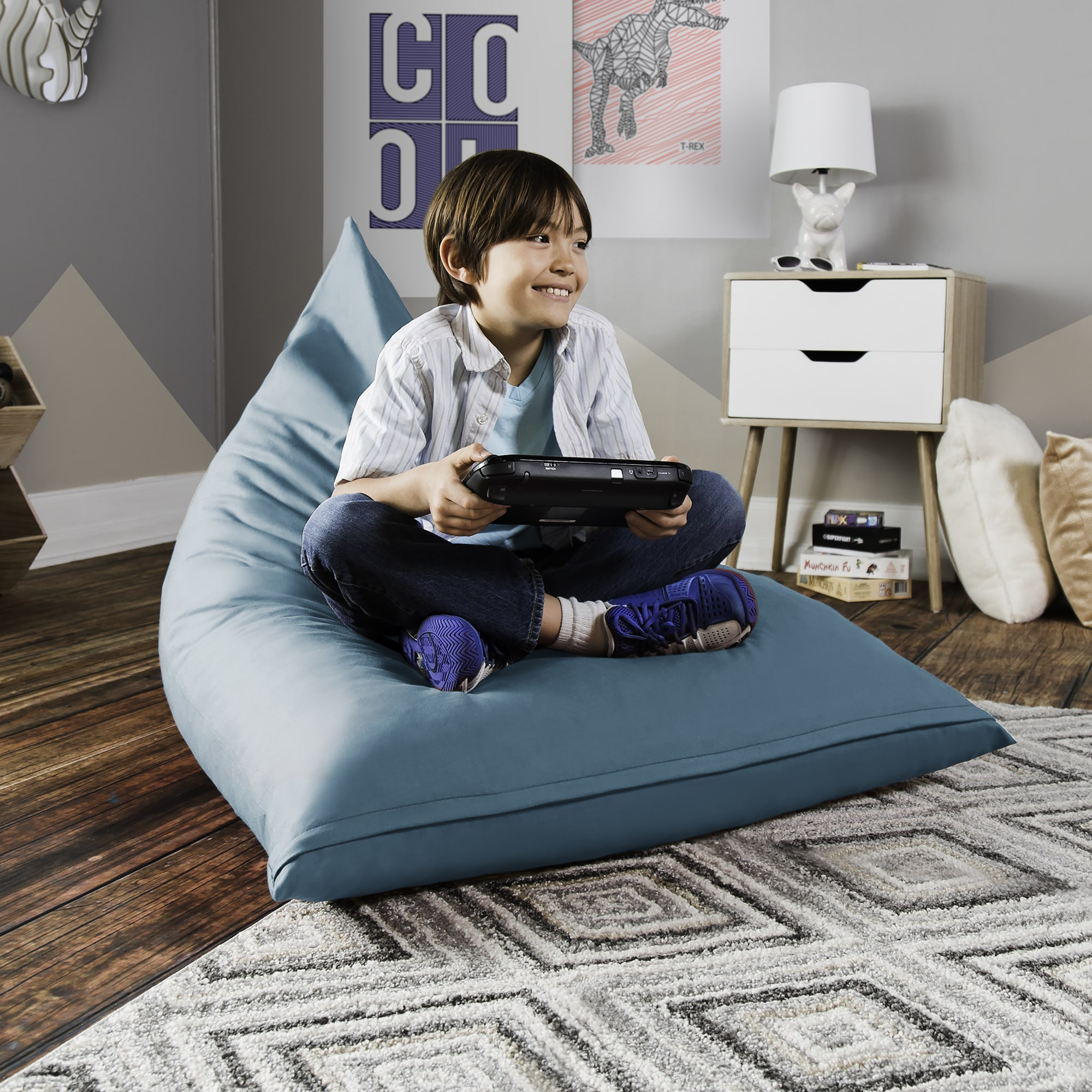 Gaming Bean Bag Chair Shredded Foam Filled Removable Cover Childproof  Closure