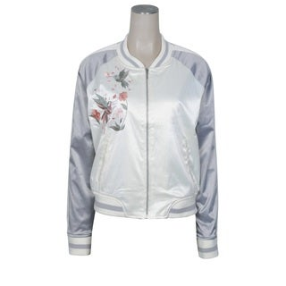 Ashley by 26 International Women's Downtown Collection Silver Floral Bird Embroidered Bomber