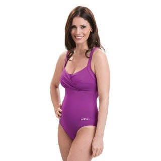 Dolfin Aquashape Solid Purple Drape Front Swimsuit With Tummy Control