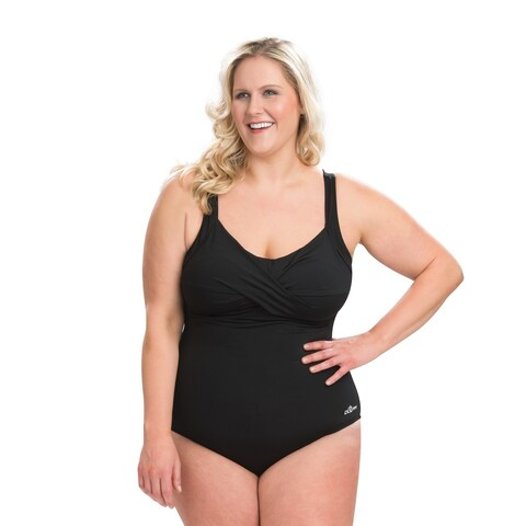 Dolfin Aquashape Plus Size Drape Front One Piece Swimsuit with Tummy Control