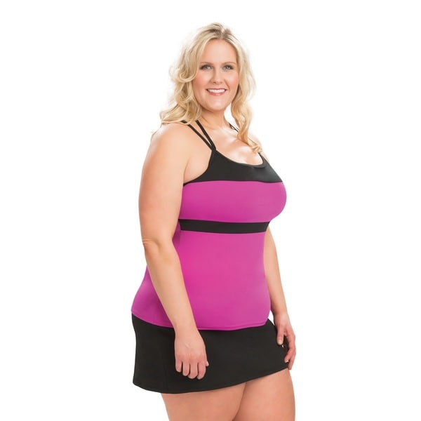 b47fd3960a366 Shop Dolfin Aquashape T-Strap Purple and Black Tankini Top - Free Shipping  On Orders Over $45 - Overstock - 16077792