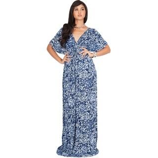 KOH KOH Womens Kimono Sleeve Casual V-Neck Summer Floral Maxi Dress
