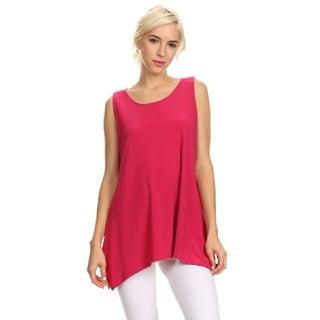 High Secret Women's Solid Color Asymmetrical Hem Sleeveless Tunic Top