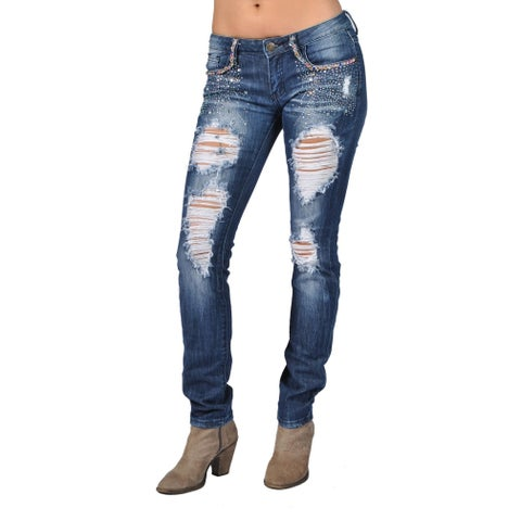 Machine Ripped Rays Pocket Rhinestoned Dark Wash Skinny Denim Jeans
