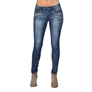 Machine Large Rhinestoned on Pocket Dark Wash Skinny Denim Jeans