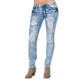 Machine Ripped Inside Layer Rhinestoned Light Acid Skinny Denim Jeans (More options available)