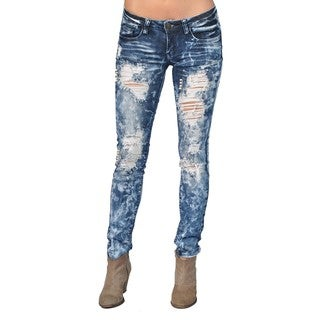 Machine Ripped Faux Pearl Medium Wash Skinny Denim Jeans (4 options available)