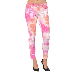 Machine Brand Skinny Fashion Washed Printed Pink Pants