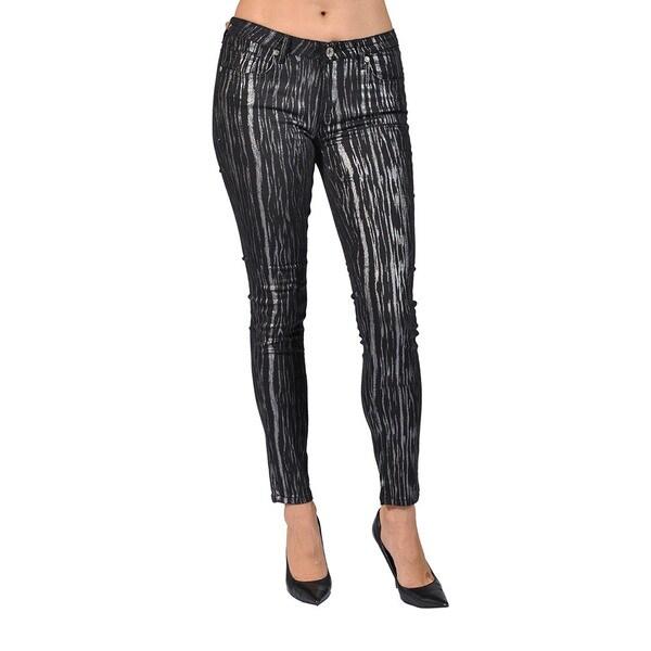 23d98bee7 Shop Machine Brand Skinny Fashion Print Coated Black and Silver ...