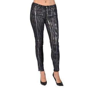 Machine Brand Skinny Fashion Print Coated Black and Silver Pants