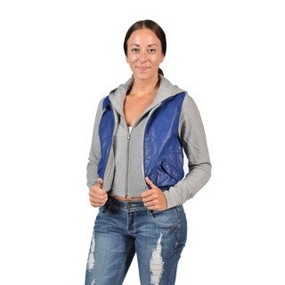 C'est Toi Fashion Women's Faux Leather Casual Hoodie Jacket