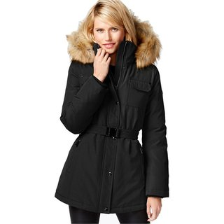 Michael Kors Heavy Down Puffer Belted Coat with Faux Fur Hood
