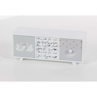 Benzara Striking White Wood Decor Chest