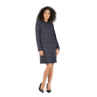 Bluberry Women's Layla  Navy and White Striped Dress