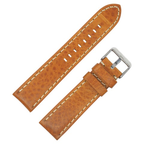 Dakota Tan, Thick Padded, Oil Tanned Genuine Shrunken Leather Watch Band with Contrast Stitching (20mm, 22mm, 24mm) - Tan