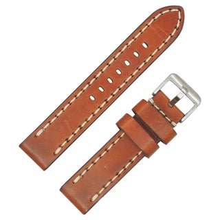 Dakota Vintage Orange/Brown Genuine Leather, Contrast Stitched with Extra Thick Padding Watch Band (20mm)