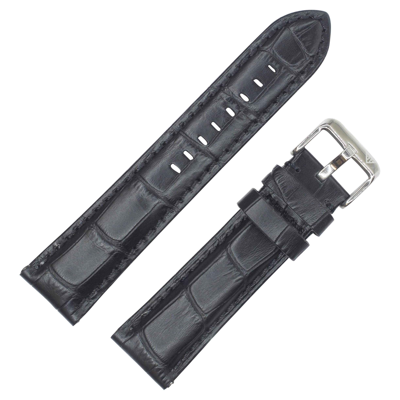 Dakota Black Croc Grain Genuine Extra Padded Leather Watc...