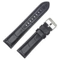 Dakota Black Croc Grain Genuine Extra Padded Leather Watch Band (20mm, 22mm, 24mm, 26mm)