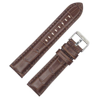Dakota Dark Brown Croc Grain Genuine Extra Padded Leather Watch Band (20mm, 22mm, 24mm, 26mm) - Dark Brown
