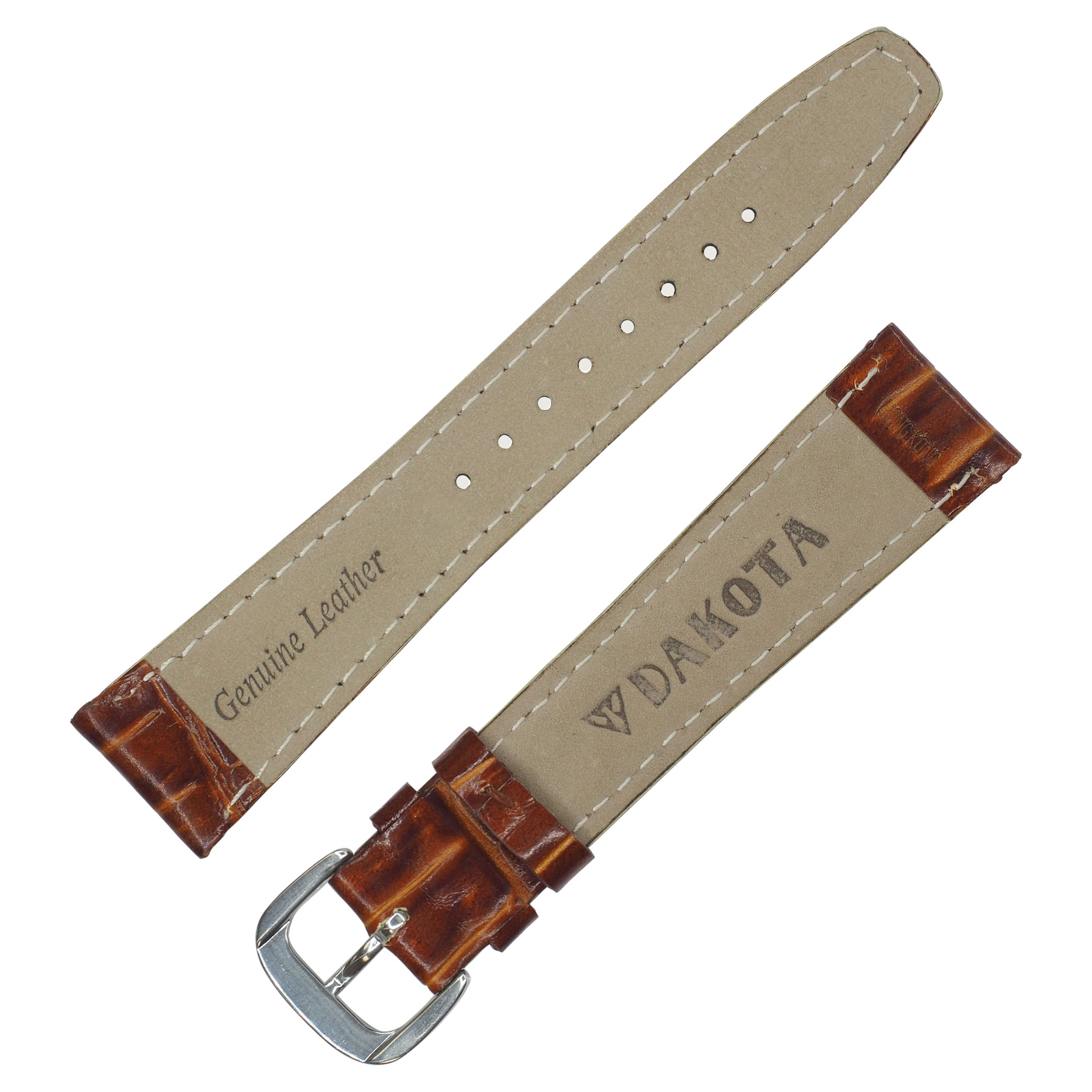 860ad0675 Shop Dakota Mahogany Brown Croc Grain Genuine Leather Padded Watch Band  (12mm, 16mm, 18mm, 20mm) - Mahogany Brown - Free Shipping On Orders Over  $45 ...