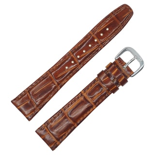 Dakota Mahogany Brown Croc Grain Genuine Leather Padded Watch Band (12mm, 16mm, 18mm, 20mm)