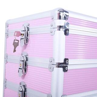 4-in-1 Lockable Rolling Aluminum Cosmetic Makeup Train Case