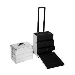 4-in-1 Lockable Rolling Aluminum Cosmetic Makeup Train Case