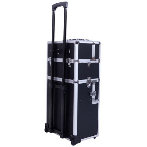 Pro 3-in-1 Aluminum Rolling Makeup Train Case
