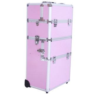 Pro 3-in-1 Aluminum Rolling Makeup Train Case (Option: Pink)