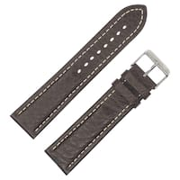 Dakota Brown Sloped Shrunken Leather with Contrast Stitch Padded Watch Band (18mm, 20mm, 22mm)