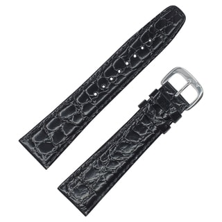 Dakota black croc grain, genuine leather, water resistant, Padded Watch Band (13mm, 16mm, 18mm, 19mm, 22mm, 24mm, 26mm, 28mm)