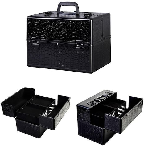 Portable Black Makeup Organizer Storage Train /Box /Case