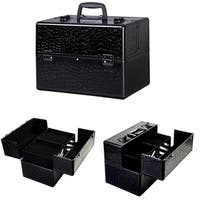 Portable Black Makeup Organizer Storage Train /Box /Case