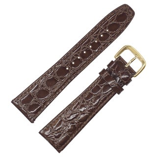 Dakota Brown croc grain, genuine leather, water resistant Padded Watch Band (13mm, 18mm, 19mm, 22mm, 26mm, 28mm)