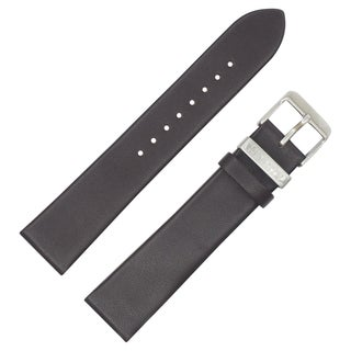 Dakota Dark Brown, Genuine Leather Oil Tanned padded Watch Band with Steel Keeper (20mm)
