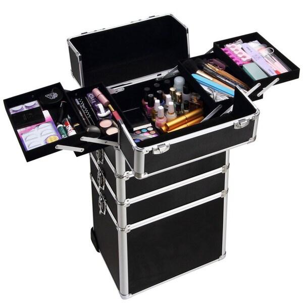 4-in-1 Interchangeable Black Aluminum Rolling Makeup Case. Opens flyout.