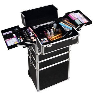 4-in-1 Interchangeable Black Aluminum Rolling Makeup Case