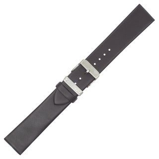 Dakota Black, Genuine Leather Oil Tanned padded Watch Band with Steel Keeper (18mm,20mm)