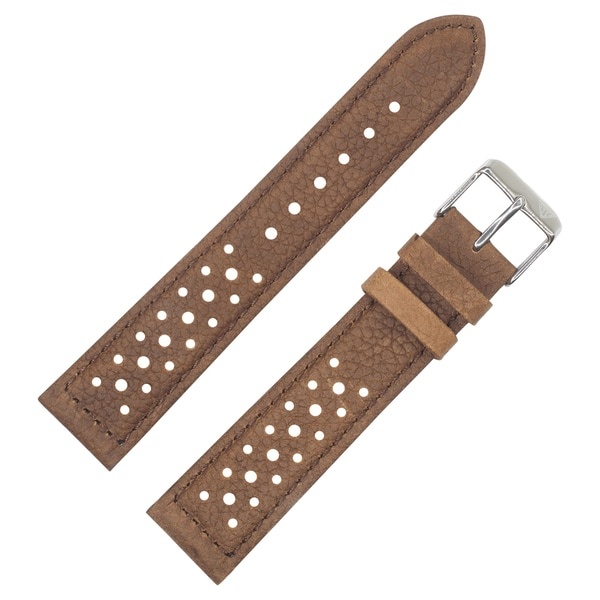 Dakota Vintage Style Brown Padded Watch Band 18mm 20mm With Holes