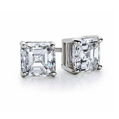 0fdc90563 Suzy Levian Sterling Silver Asscher-Cut Cubic Zirconia 6mm 2.50 cttw Stud  Earrings