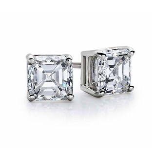 Suzy Levian Sterling Silver Asscher-Cut Cubic Zirconia 6mm 2.50 cttw Stud Earrings