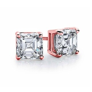 Suzy Levian Rose Plated Sterling Silver Asscher-Cut Cubic Zirconia 6mm 2.50 cttw Stud Earrings