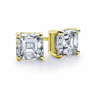 Suzy Levian Gold Plated Sterling Silver Asscher-Cut Cubic Zirconia 6mm 2.50 cttw Stud Earrings