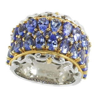 Michael Valitutti Palladium Silver Multi Pearshaped and Round Tanzanite Band Ring - Size 7